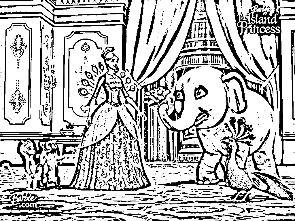 Barbie Island Princess Coloring Pages Free Coloring Page
