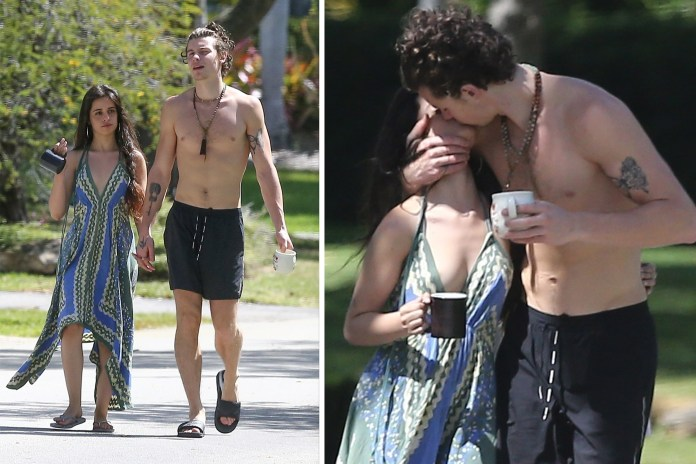 Camila Cabello and Shawn Mendes kiss during coffee break in Miami