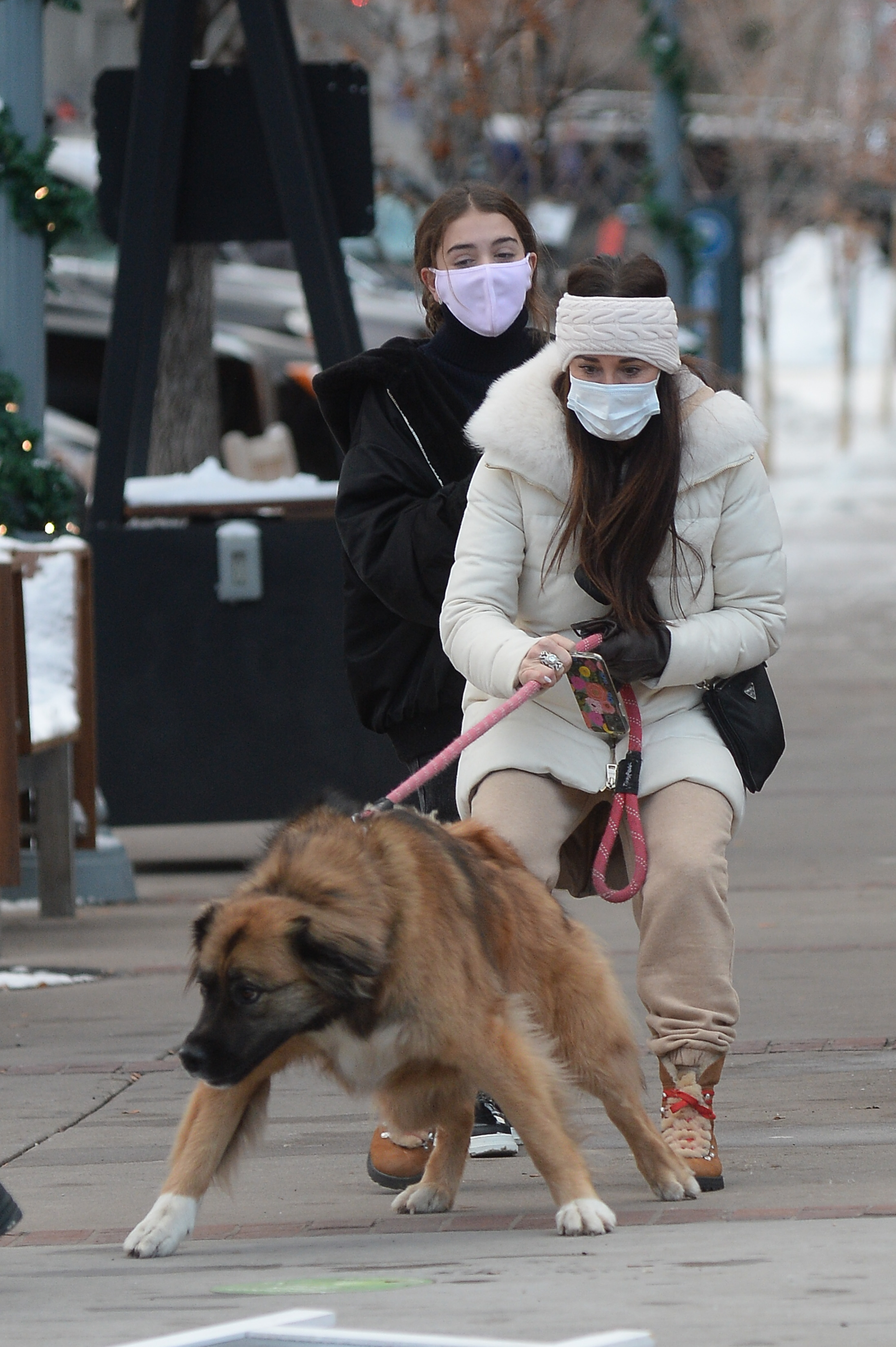 Kyle Richards struggles to control his dog on a walk in Aspen while her husband and two daughters are skiing.
