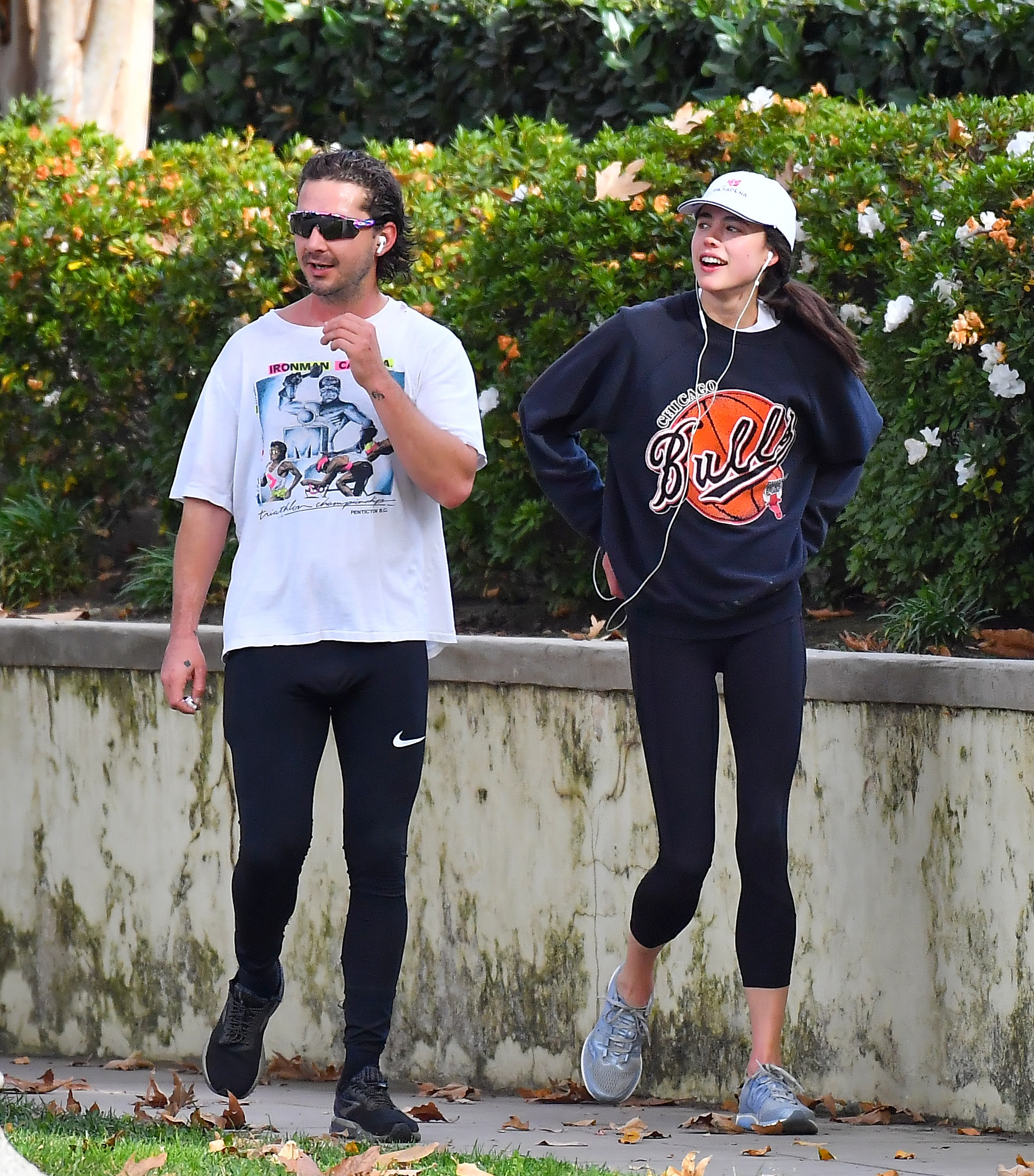 New couple Shia LaBeouf and Margaret Qualley sweat as they set off for a morning run in Pasadena Ca