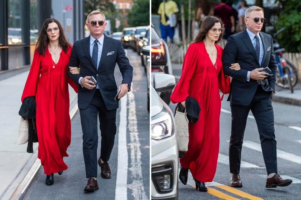 Daniel Craig and wife Rachel Weisz walk home after an early dinner in Brooklyn.
