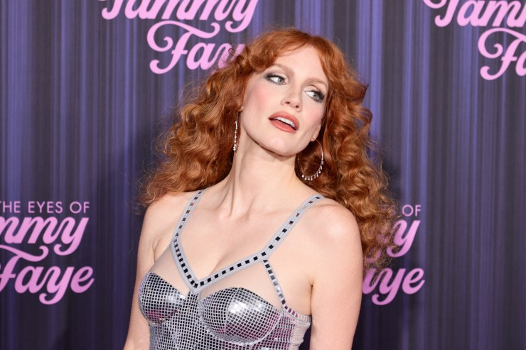 Jessica Chastain goes 'full Disco Jesus' at 'Eyes of Tammy Faye' premiere