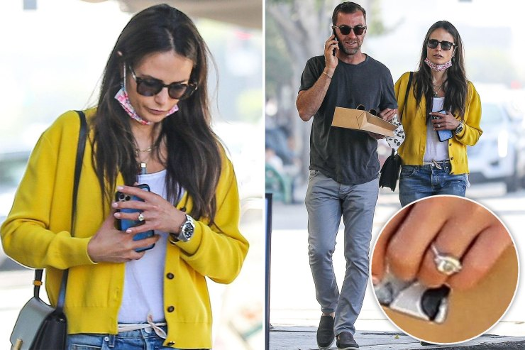 Jordana Brewster flashes massive ring while out with boyfriend Mason Morfit
