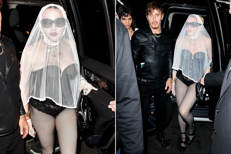 Madonna adds veil to shocking leather outfit at VMAs 2021 afterparty