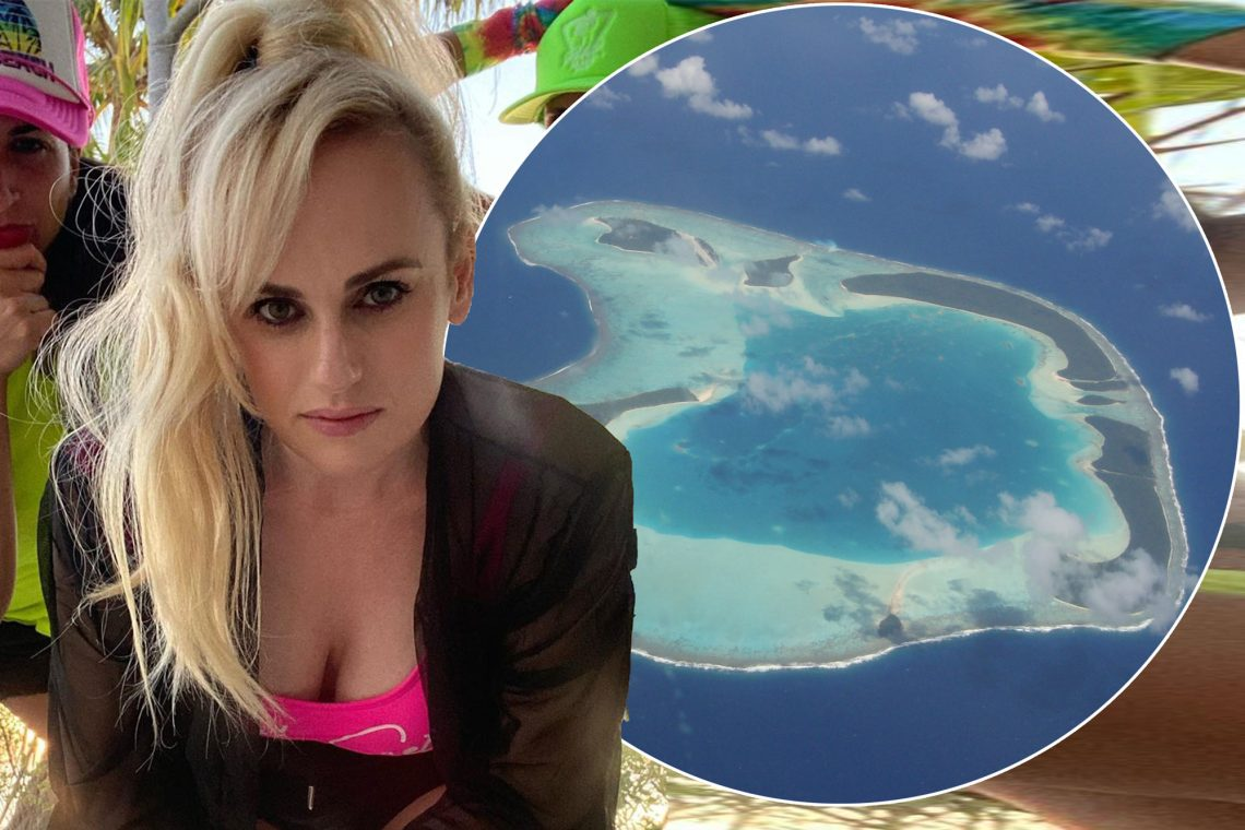 Rebel Wilson and pals are hanging out on Marlon Brando's private island.