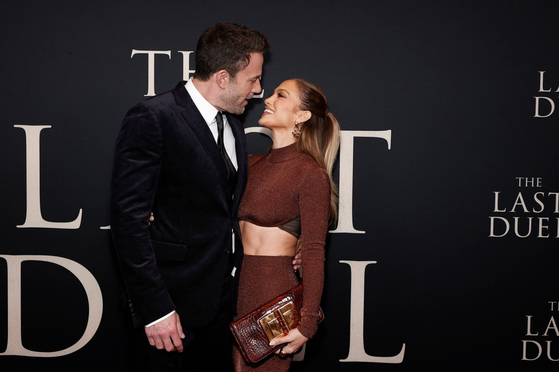 """Ben Affleck and Jennifer Lopez attend """"The Last Duel"""" New York Premiere at Rose Theater at Jazz at Lincoln Center's Frederick P. Rose Hall on October 09, 2021"""