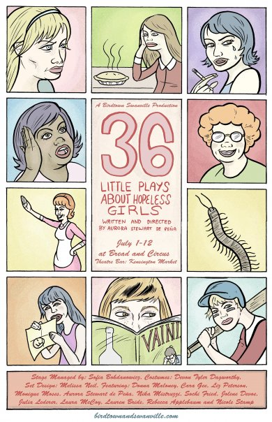 """36 little plays"" ""hopeless girls"" ""birdtown and swanville"" ""nicole stamp"" ""aurora stewart de pena"""