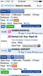 Search pages of different routes and times