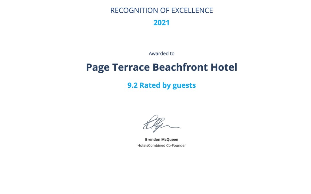 Page Terrace is Proud to Receive the 2021 HotelsCombined Recognition of Excellence Award
