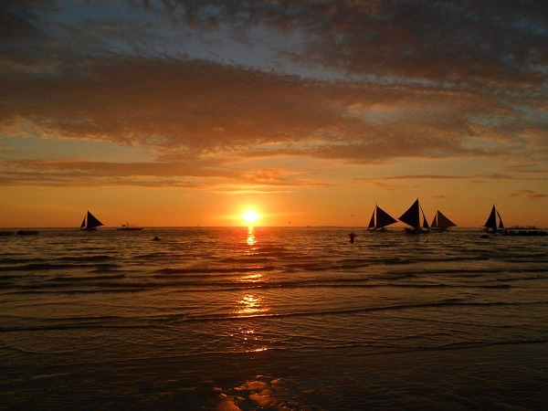 Beautiful ocean sunset in Boracay in the Philippines