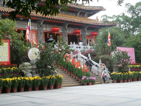 Po Lin Monastery with Chinese New Year decorations in Nong Ping Lantau Island Hong Kong