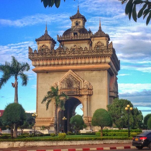 Patuxai building at sunset in Vientiane, Laos