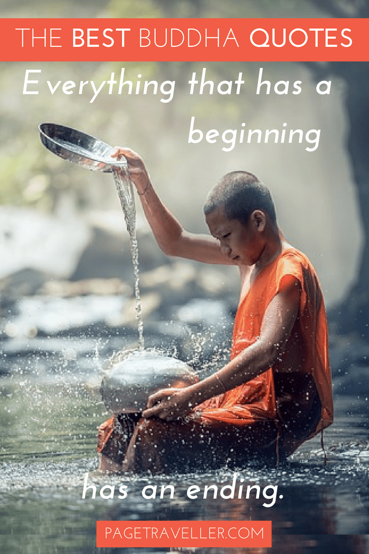 Buddha Quote Life - Young Monk with Water