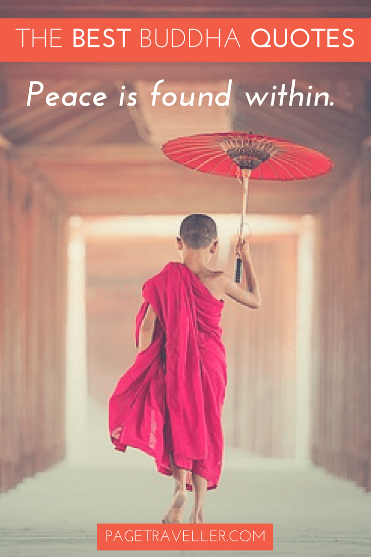 Buddha Quote Peace- Young Buddhist Monk With Umbrella