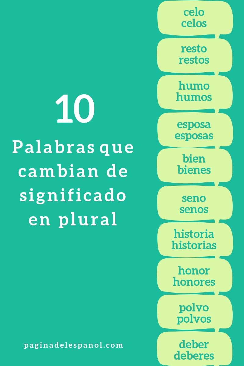 10 Palabras Que Cambian De Significado En Plural La Página Del Español
