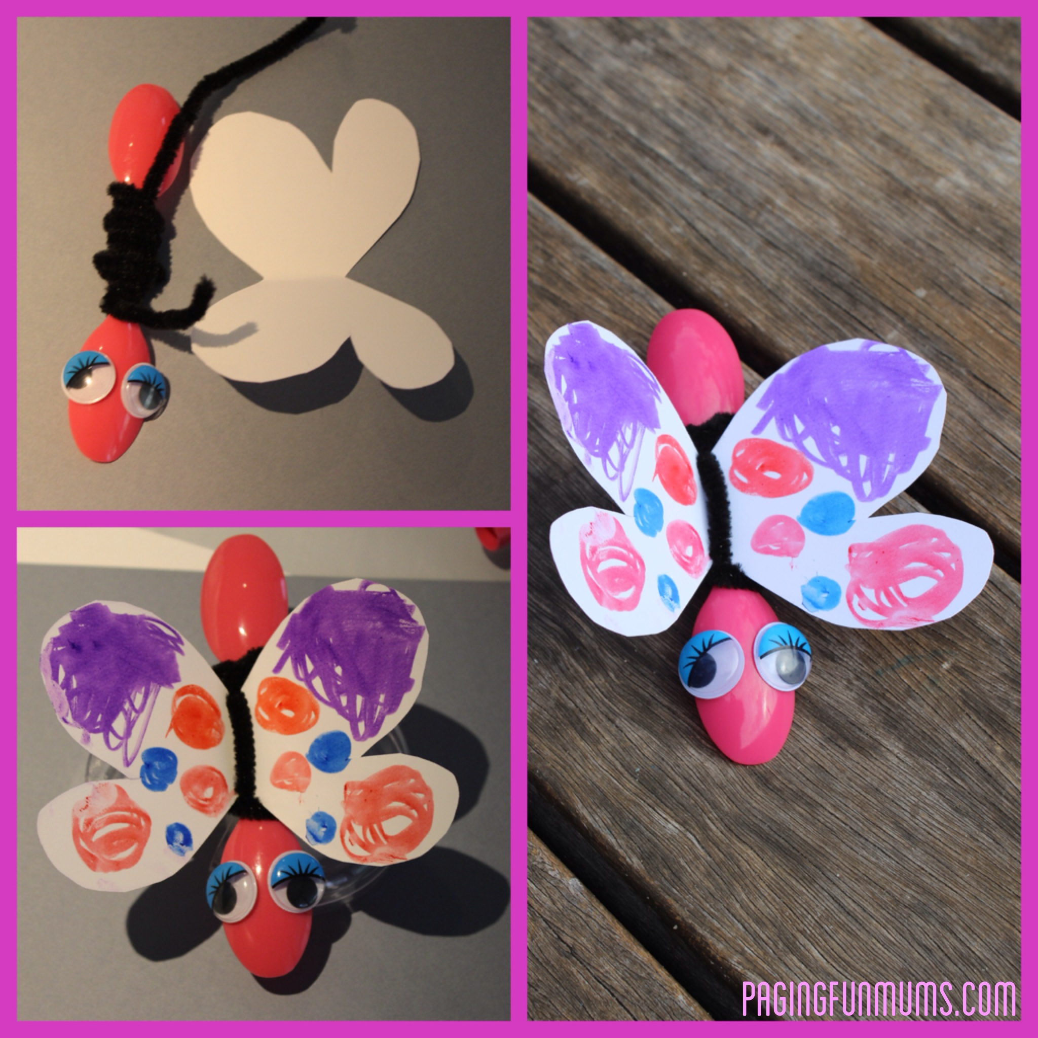 Cute bug craft using spoons and pipe cleaners for Plexiglass arts and crafts