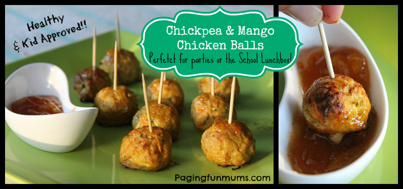 Yummy Chickpea & Mango Chicken Balls - Kid approved snack!
