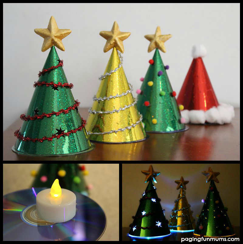 Glowing Christmas Tree Craft - Using Party Hats!!