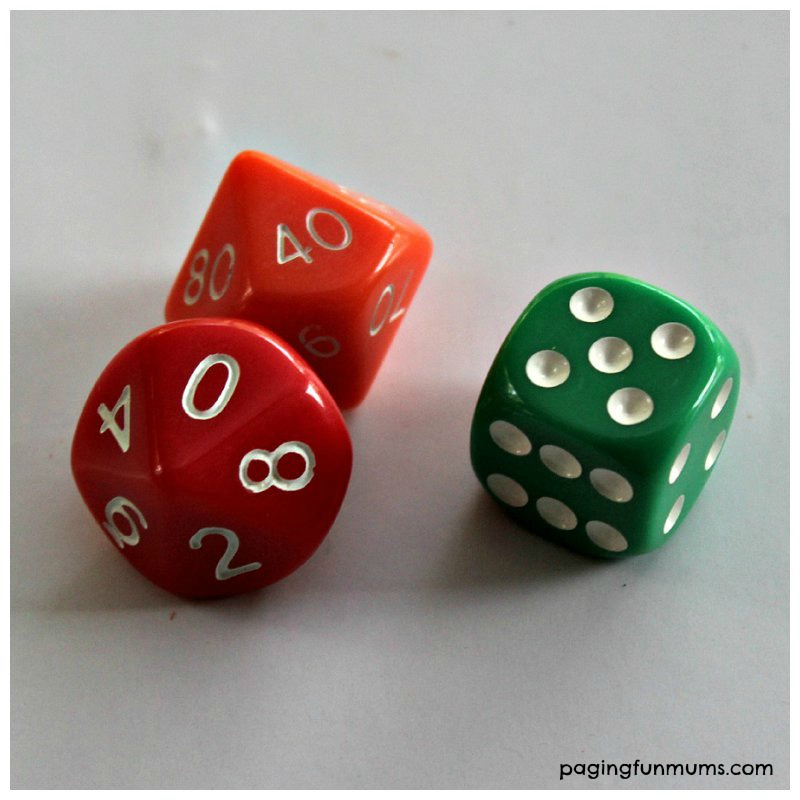 Dice for learning Mathamatics