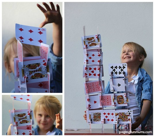 Building a house of cards with a DIY Playing Card Bulding Set!