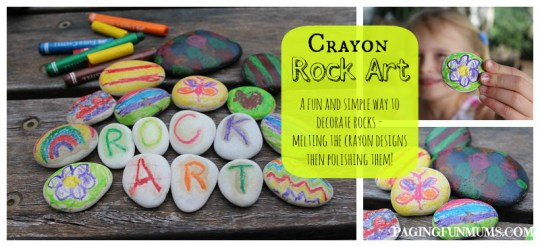 Rock Art - using crayons! Mess free FUN!!