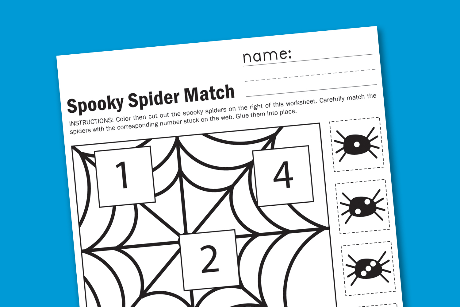 Spooky Spider Match Worksheet
