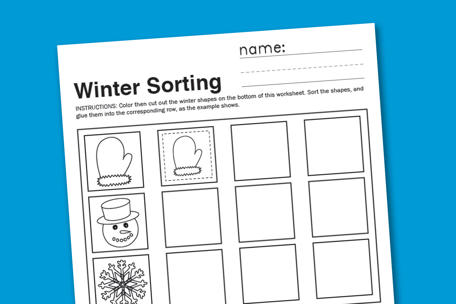 Winter Sorting Worksheet