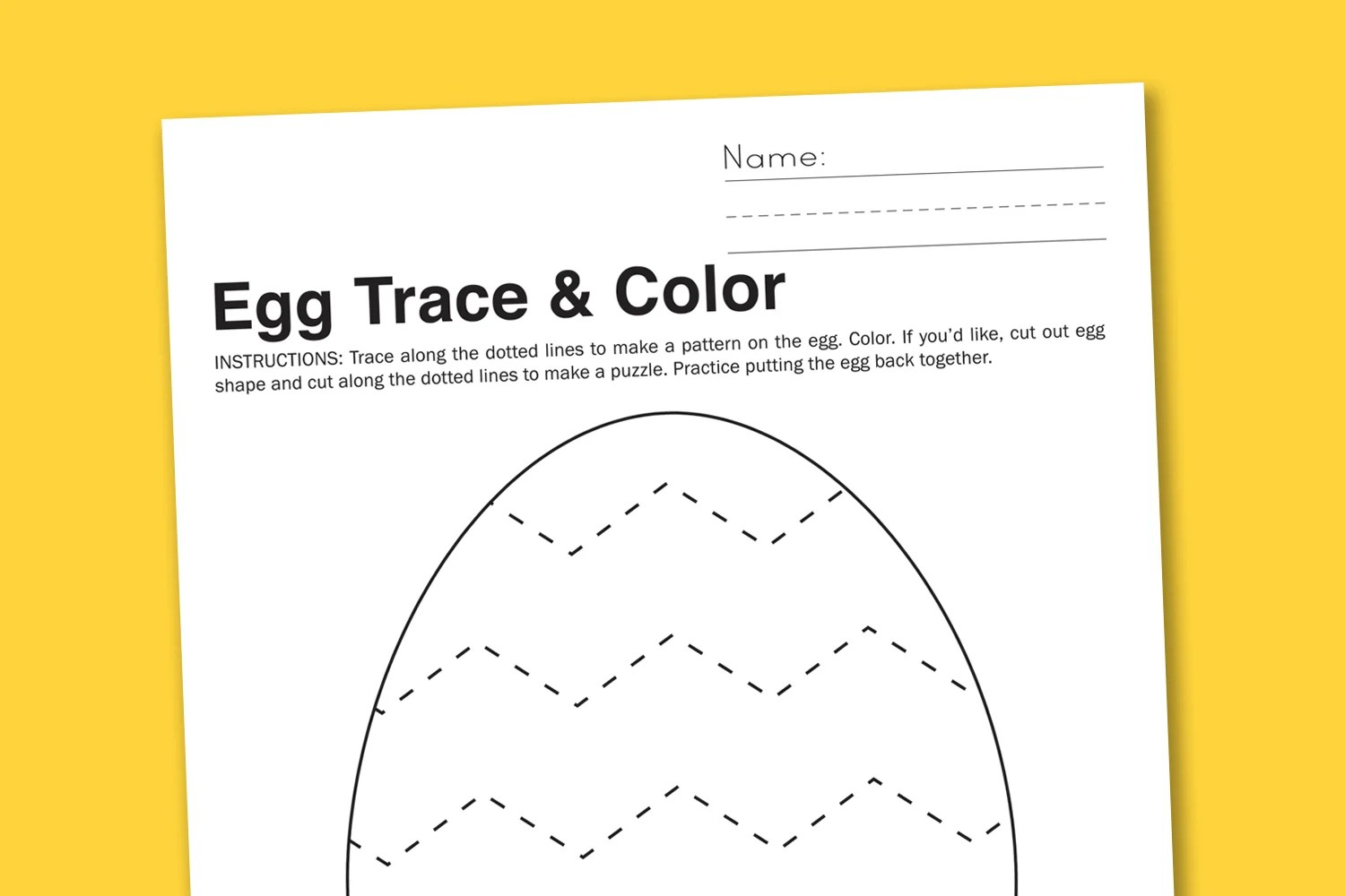 Egg Trace Color Preschool Worksheet