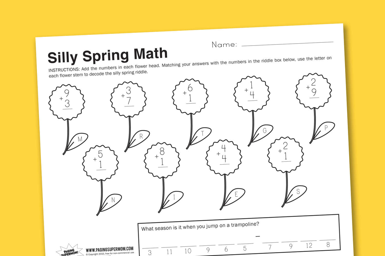 Worksheet Wednesday Silly Spring Math
