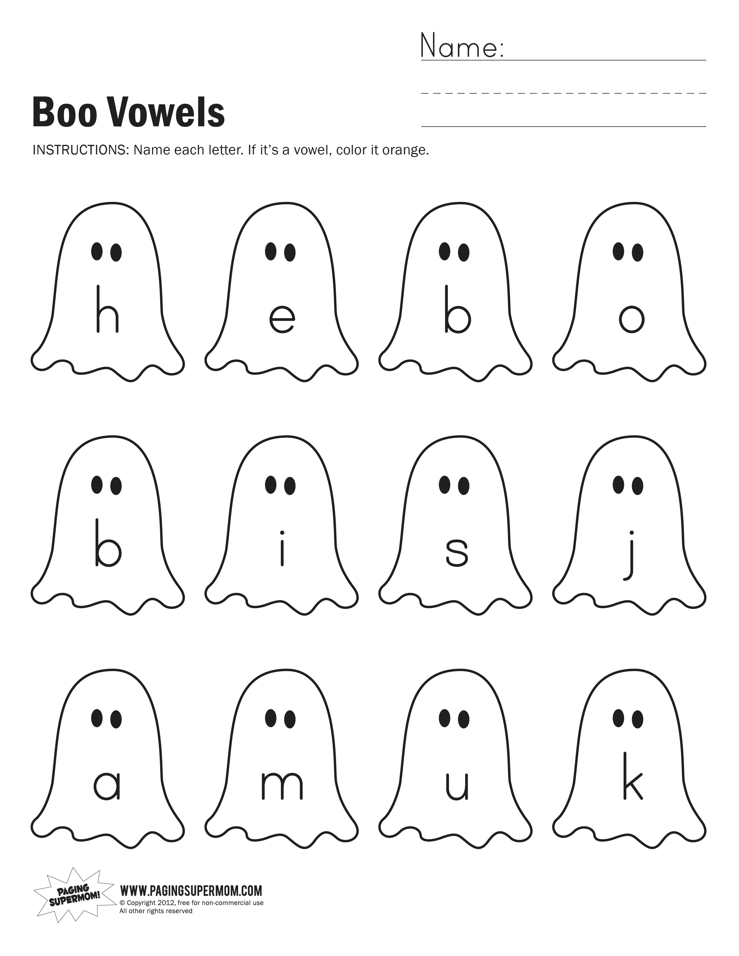 Boo Vowels Worksheet