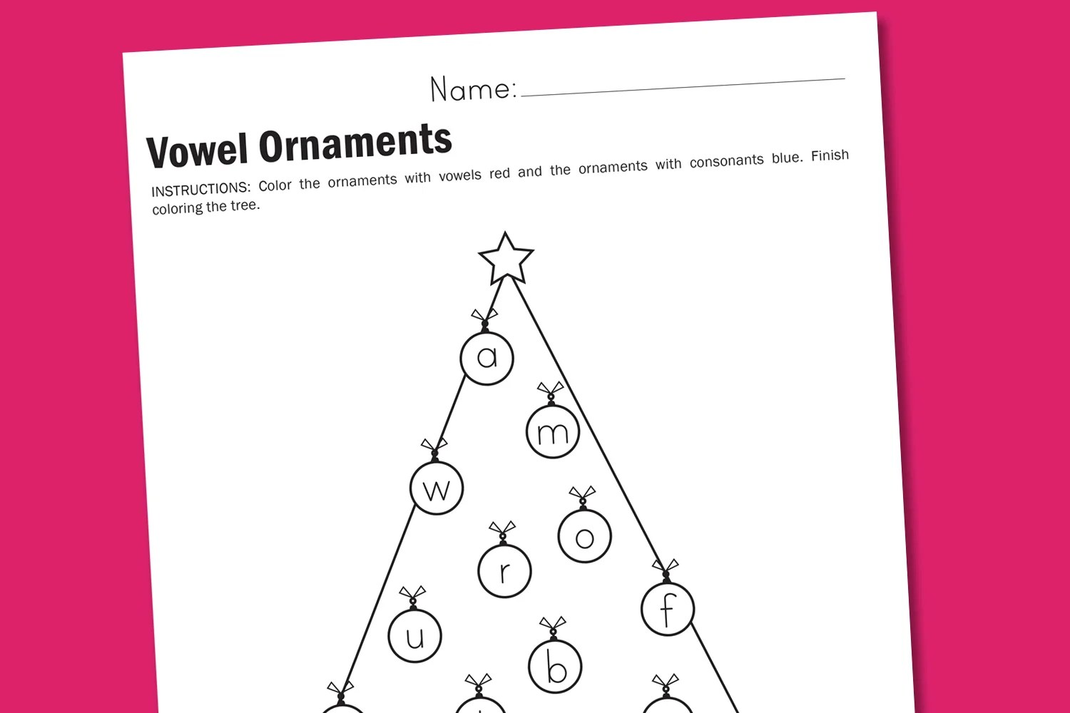 Worksheet Wednesday Vowel Ornaments