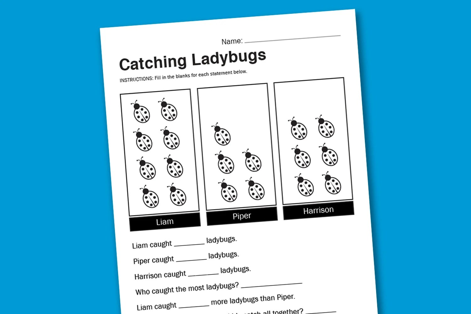Worksheet Wednesday Catching Ladybugs