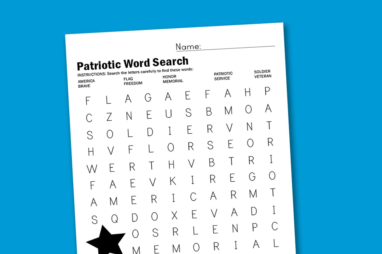 Patriotic Word Search
