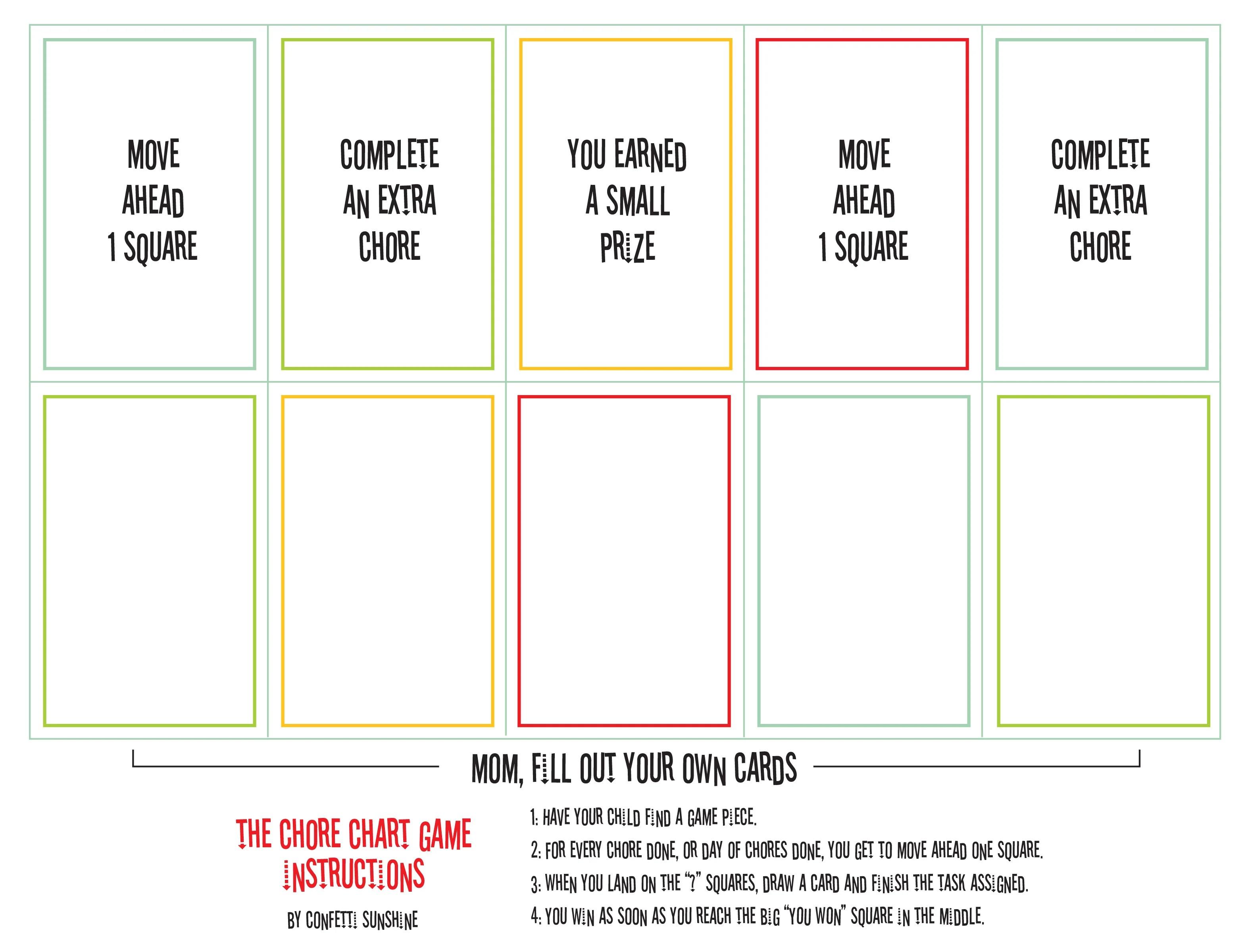 Free Printable Chore Game