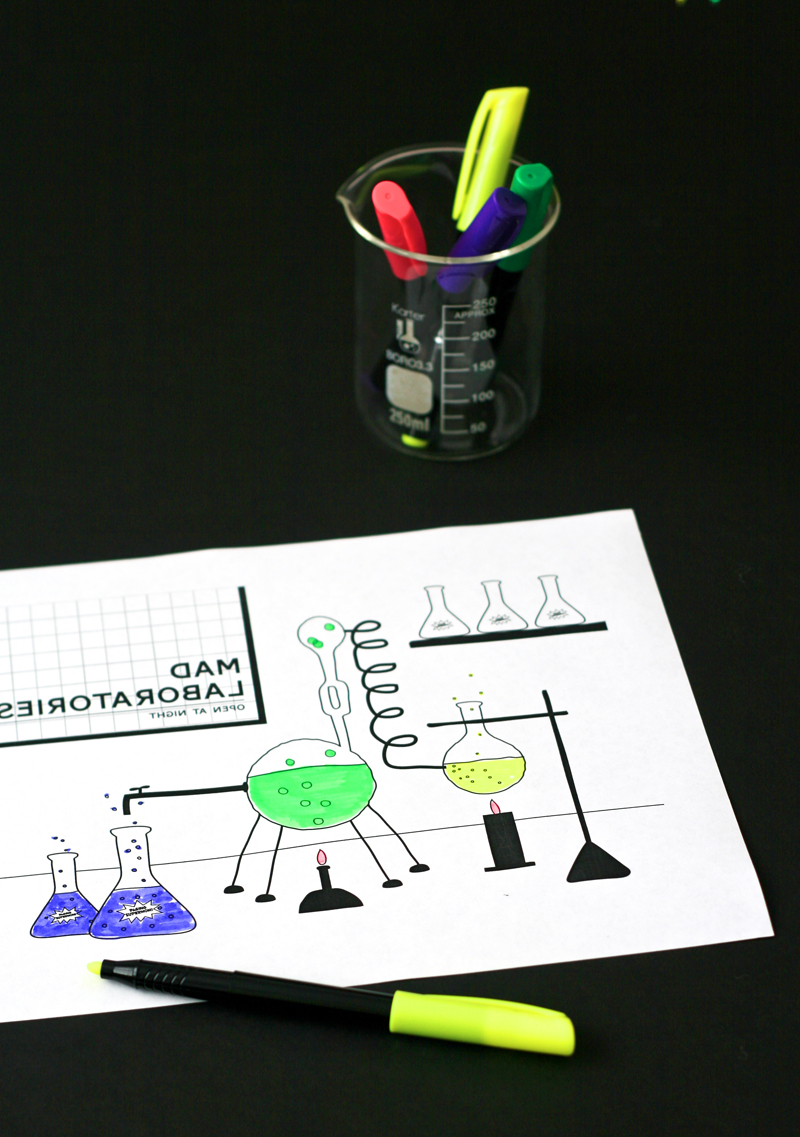 mad laboratory coloring page paging supermom