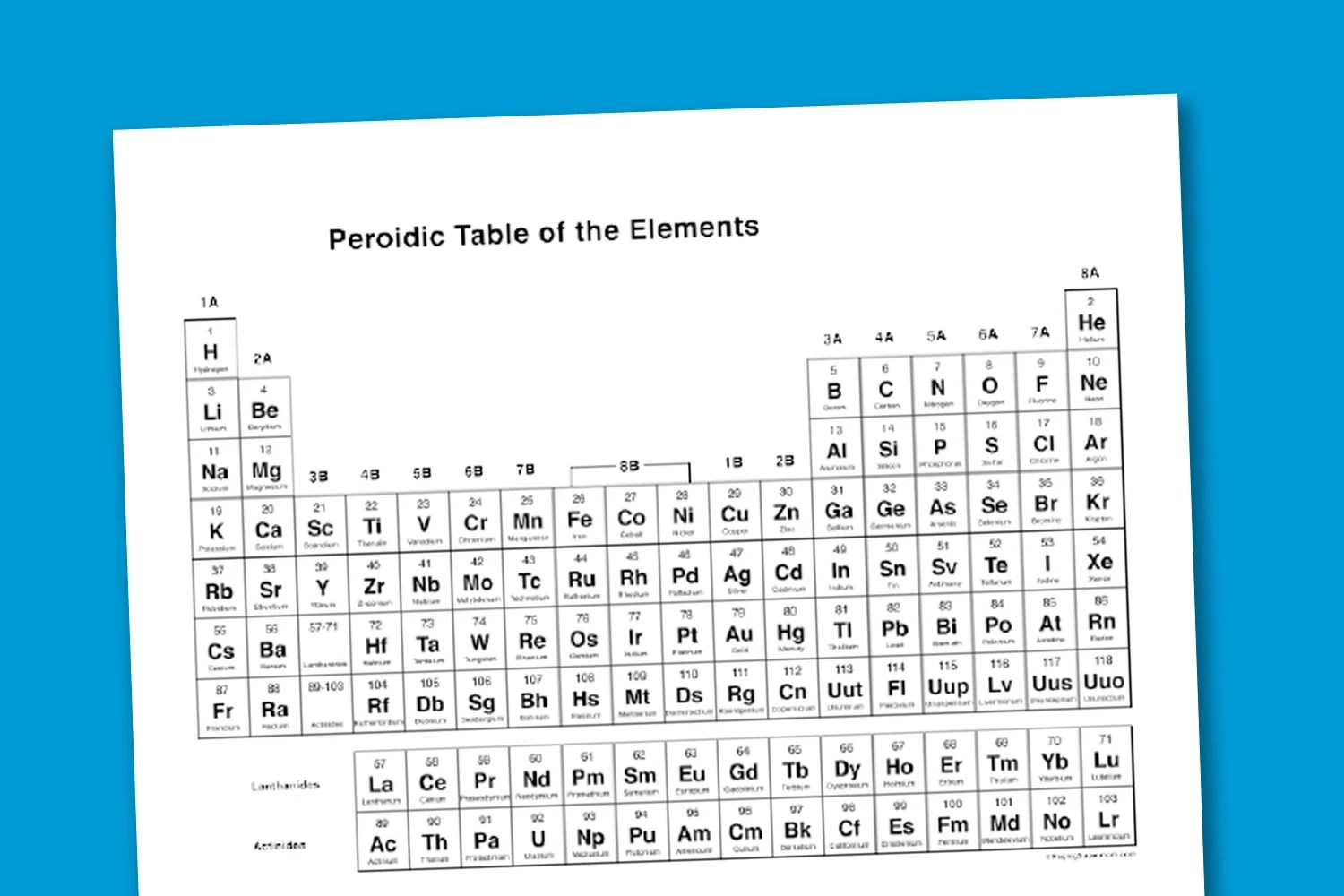 Worksheet Wednesday Printable Periodic Table