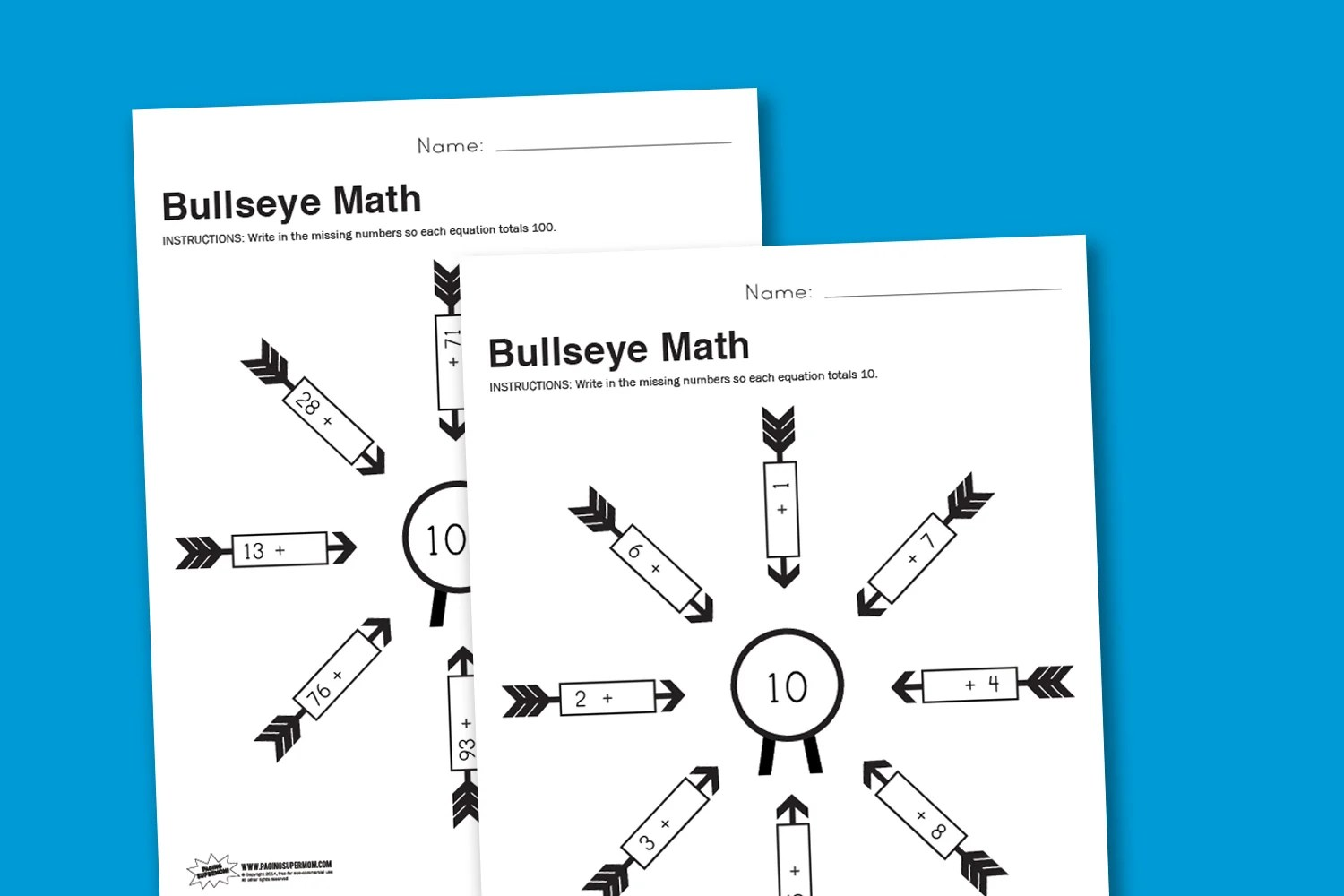 Worksheet Wednesday Bullseye Math