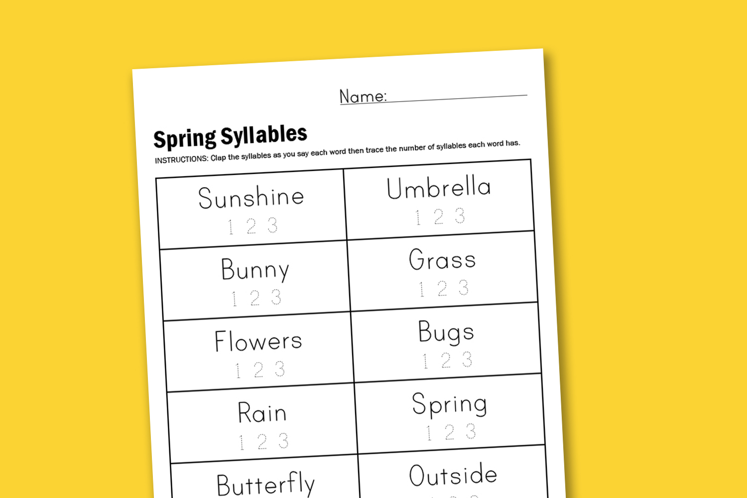 Printable Syllable Worksheets