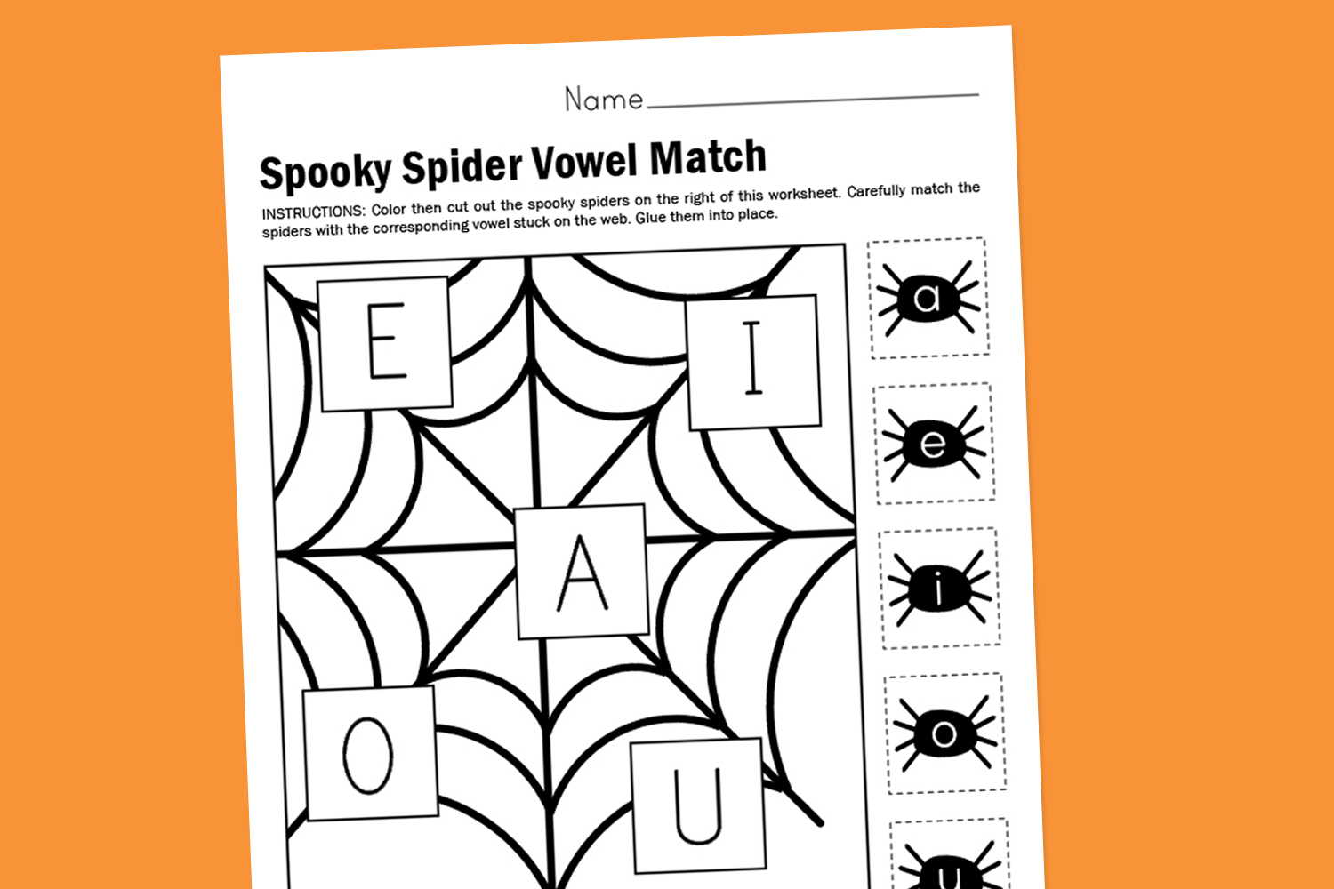 Worksheet Wednesday Spooky Spider Vowel Match