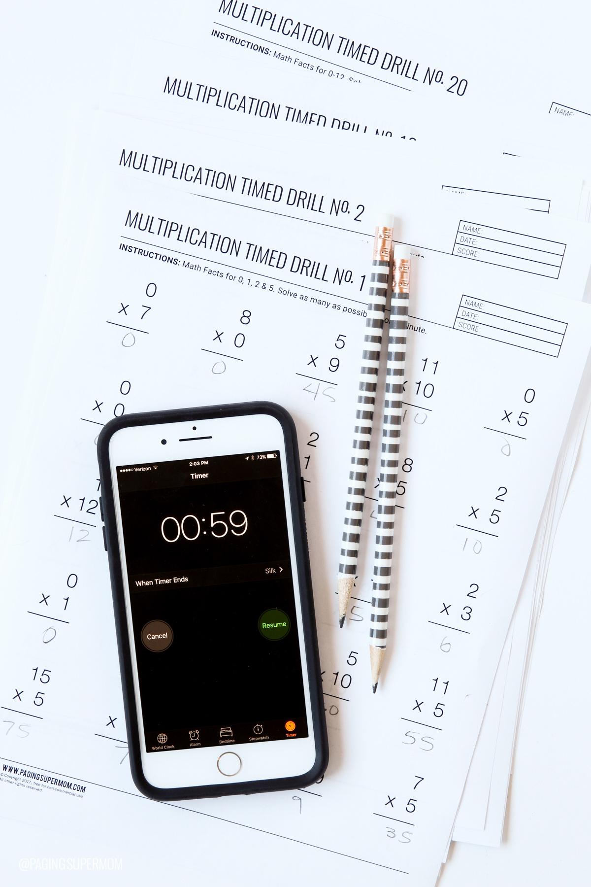 Printable Multiplication Worksheets