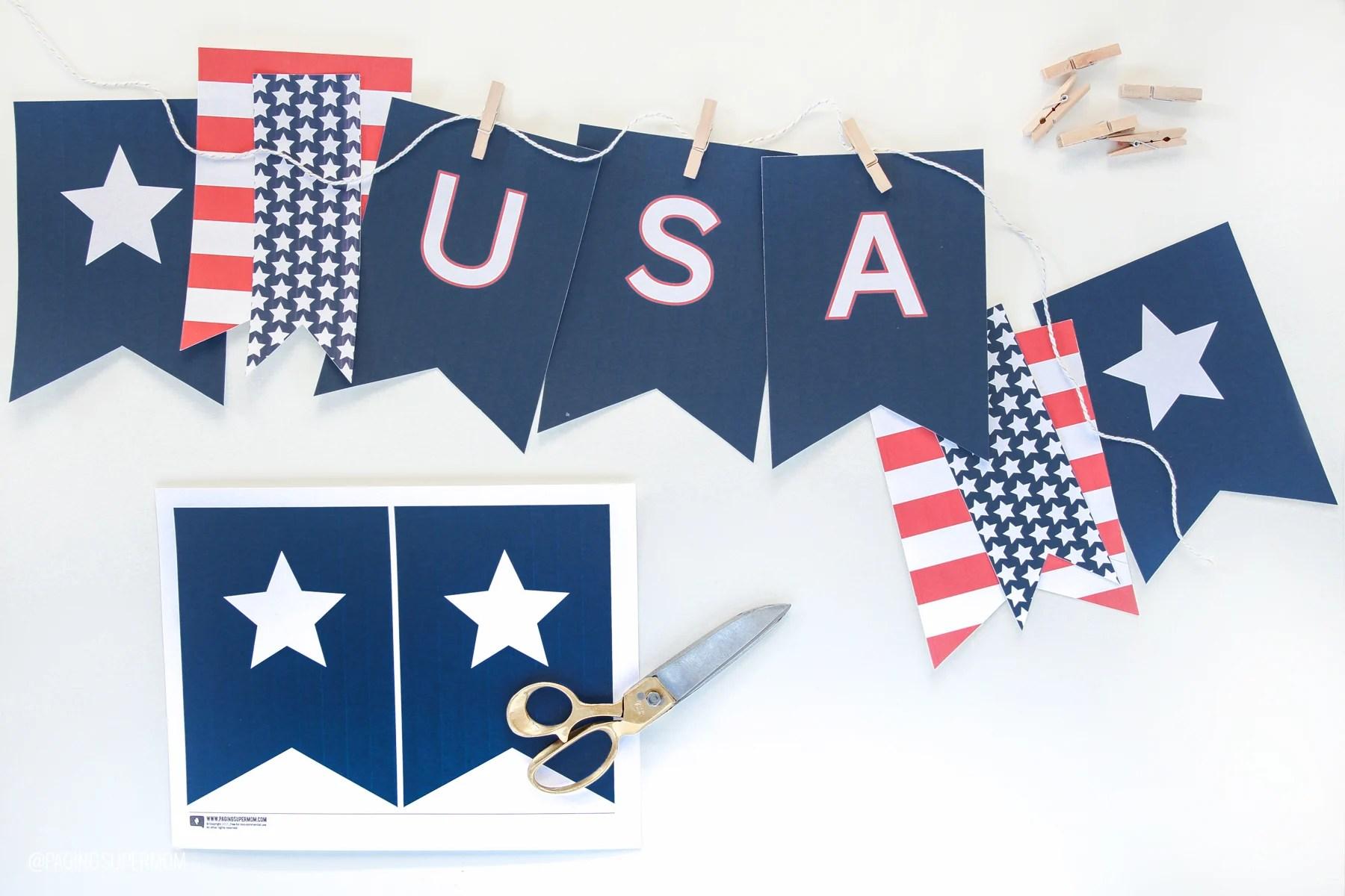 Printable Usa Banner For July 4th