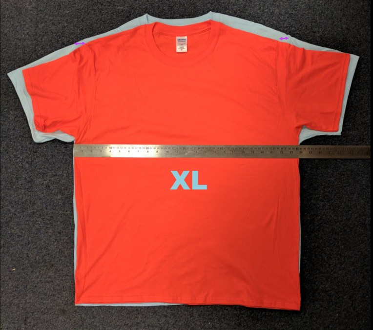 An XL in Heavy T and Softstyle T compared