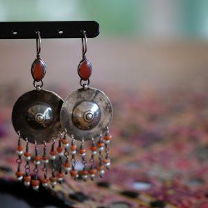Silver old earrings Turkmenistan