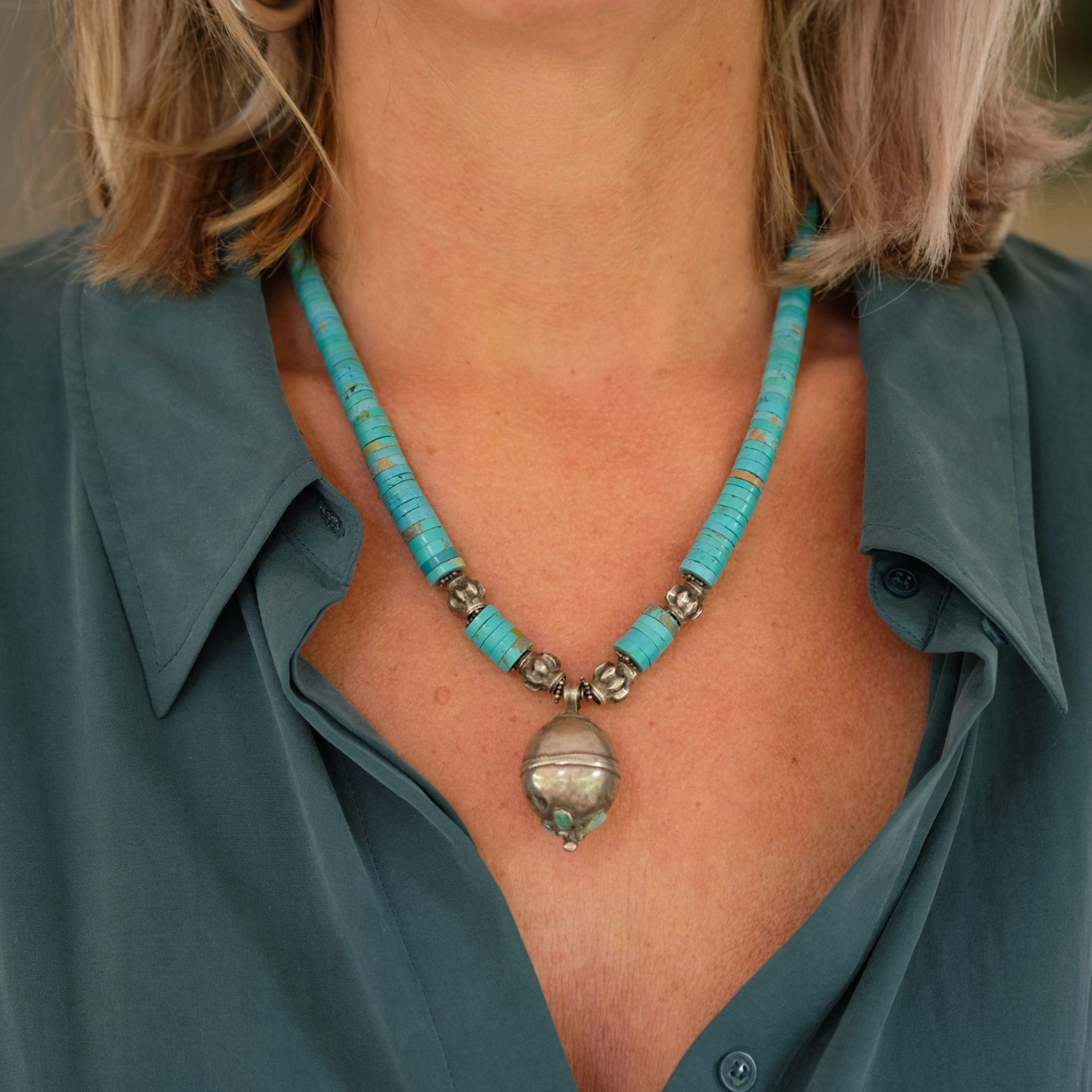 Afghan necklace turquoise