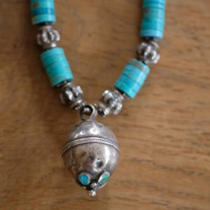Turquoise necklace, silver bell Afghanistan