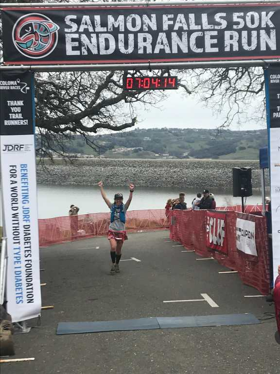 Pahla B at the finish line of the Salmon Falls 50k