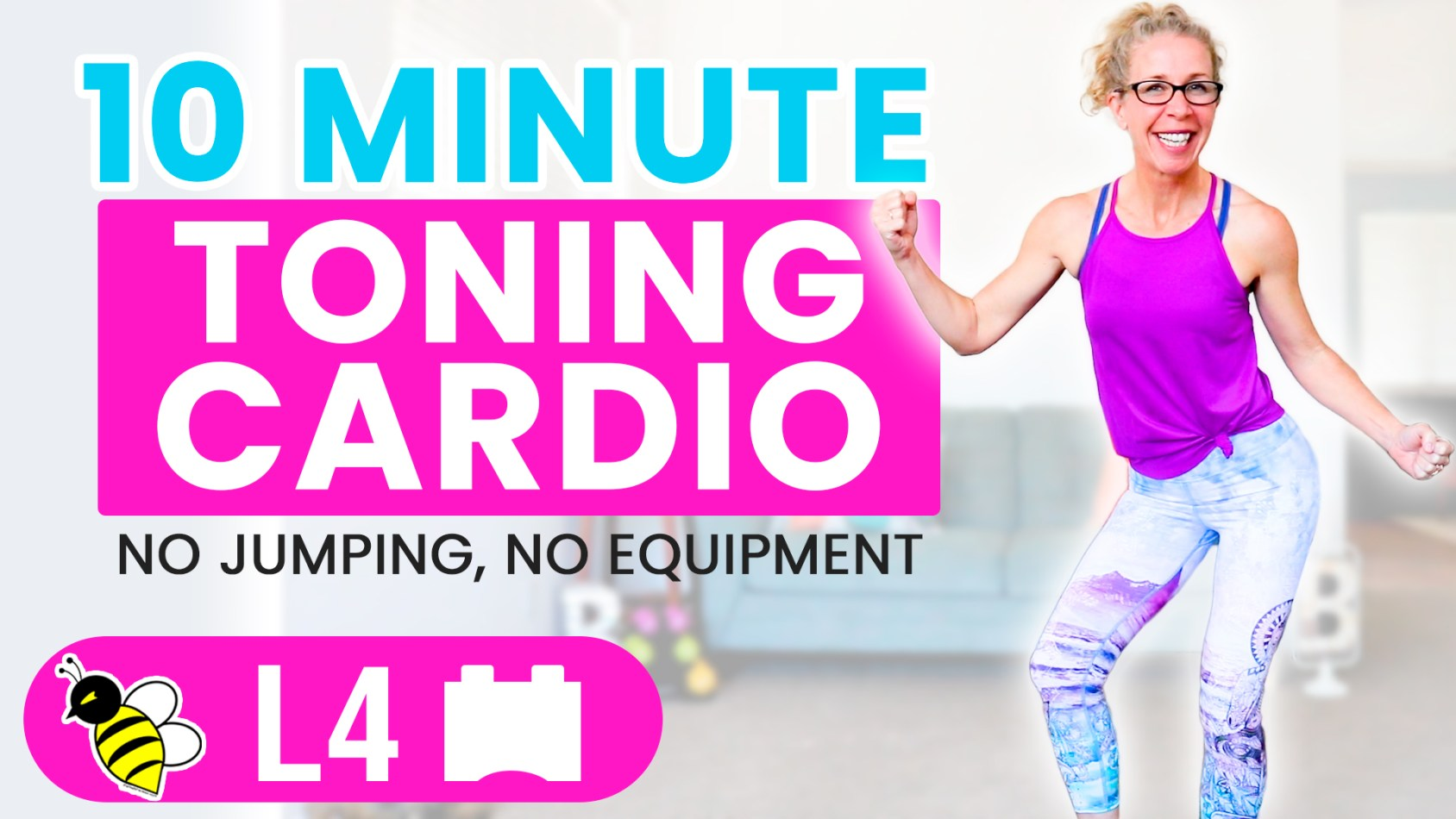 10 Minute Low Impact Toning CARDIO quick stackable workout without jumping