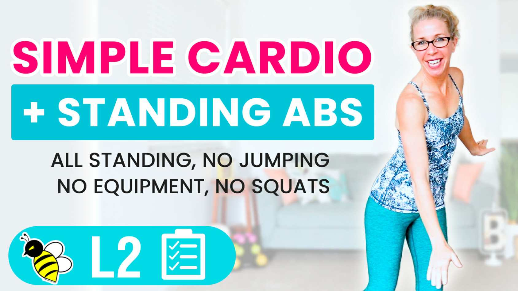 30 minute Simple CARDIO + Standing ABS HIIT for BEGINNERS