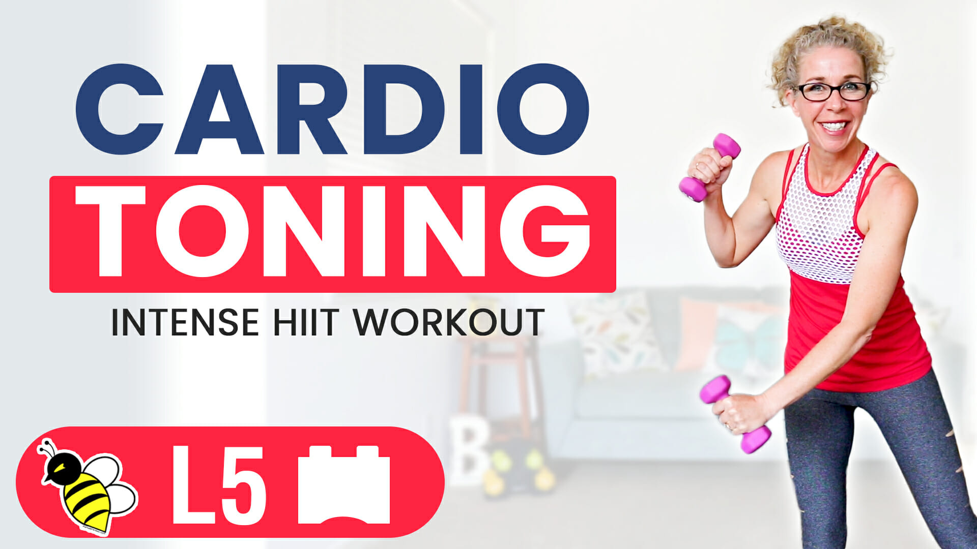 10 Minute INTENSE Cardio Toning HIIT Total Body Workout with Light Dumbbells