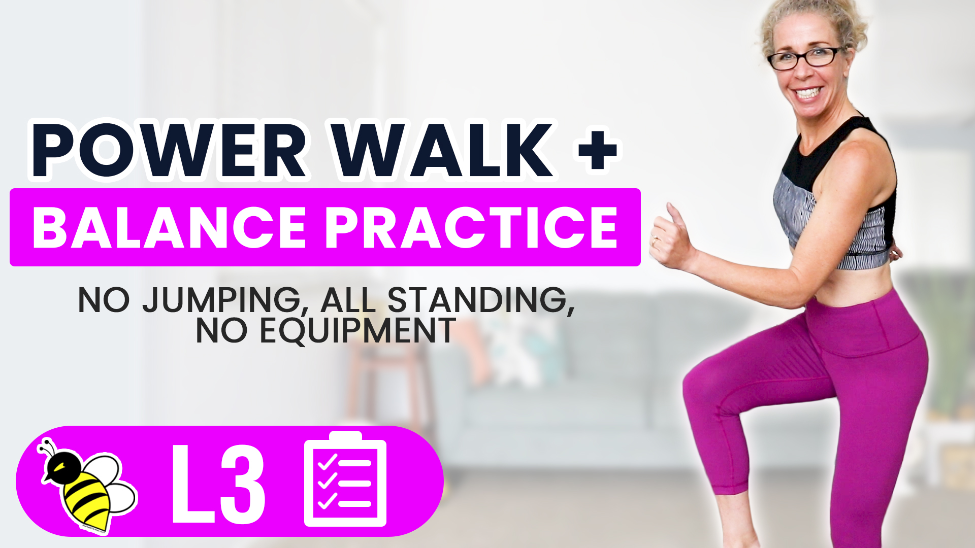 40 Minute POWER WALK with BALANCE Practice Low Impact Workout at Home 01